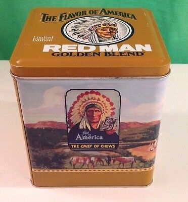 Vintage Collectors Tin, Red Man Golden Blend Limited Edition Tobacco Tin, 1991