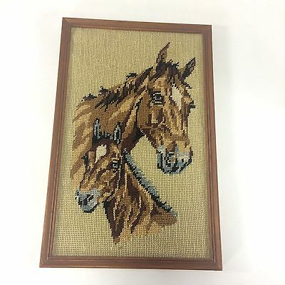 Finished Needlepoint Horse and Foal Open Framed 8.5 in X 13.25 in No Glass VTG