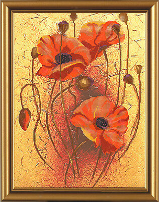""""""" Blooming Poppies""""Kit for Beads embroidery"""