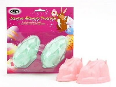 Set Of 2 Pink Easter Bunny Moulds - Easter Bunny - Chocolate, Marshmallow Mold