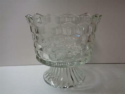 Fostoria American Glass Footed 5.5in tall Footed Serving Bowl Cube 6in Dia top