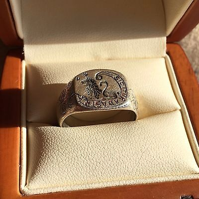"""Medieval Knights Silver Ring """"SIC ITUR AD ASTRA"""""""