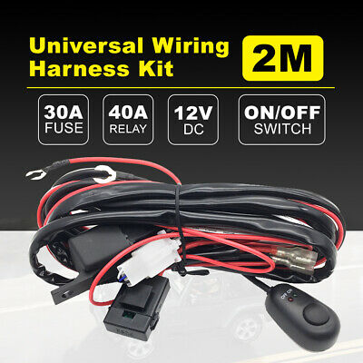 2M Universal Wiring Kit Switch Relay for LED Spot/Flood Light Bar Harnes 12V 40A