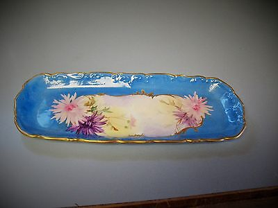 Lovely Early Ravenwood Porcelain, H.P. Sinclaire, FLORAL & BLUE VANITY TRAY