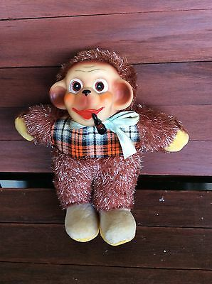 Vintage Smoking With Pipe Monkey Plush Toy Made In Japan Vest Bow Tie