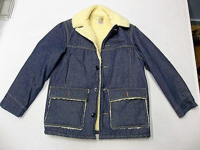 Vintage Carhartt Sherpa Lined Blue Denim Barn/work/chore Coat/ Jacket Size 38