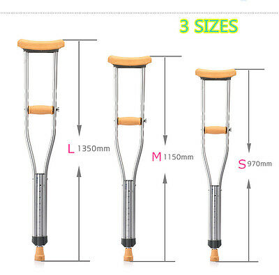 Ultralight Portable Adjustable Underarm Crutch Axillary Walking Stick Aluminium