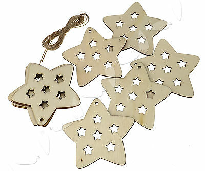 10 X Wooden Christmas Xmas Tree Hanger Accessories Gift  Star