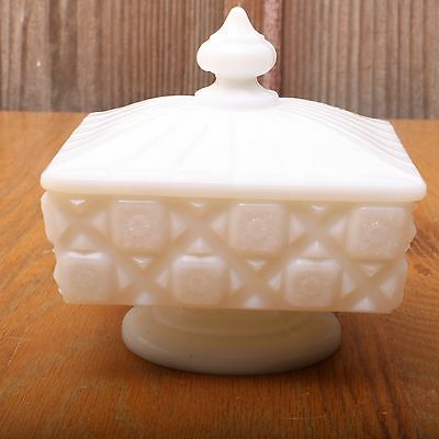 Westmoreland Milk Glass Old Quilt Pattern Lidded Compote Square Candy Dish VTG