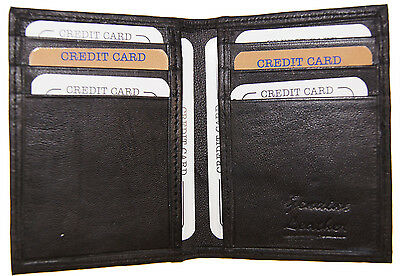 Slim Front Pocket Mens Bifold Genuine Leather Wallet 6 slot Card Holder Black