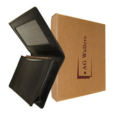 Mens Cowhide Leather Expandable Credit/Business Card Holder Wallet Gift Box New