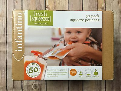 Infantino Fresh Squeezed Feeding Line Single Use 4oz Baby 14 Squeeze Pouches