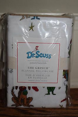 NWT Pottery Barn Kids Dr Seuss The Grinch Christmas flannel pillowcase