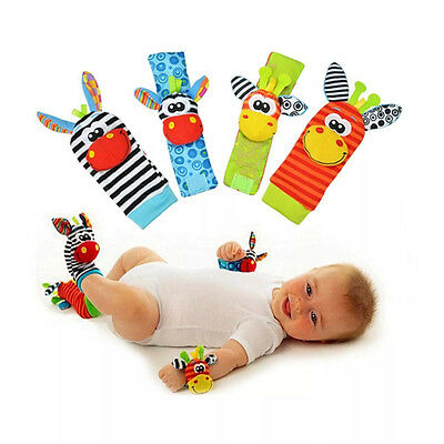 SOZZY Infant Baby HAND Rattle FOOT Finder Sock Animal TOY Birth12 Month Activity