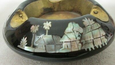 Mid Century Korean Black Lacquer Ware Ashtray Mother Of Pearl Inlay Boat Village