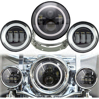 "7inch Motorcycle LED Projector Daymaker Headlight 4.5"" Passing Lights For Harley"