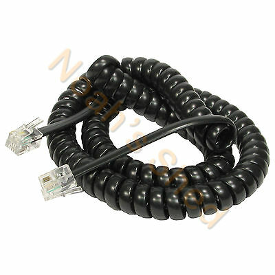 5 Metre Black Telephone Spiral Wire Phone Handset Curly Cord Cable RJ11 4P4C 5M