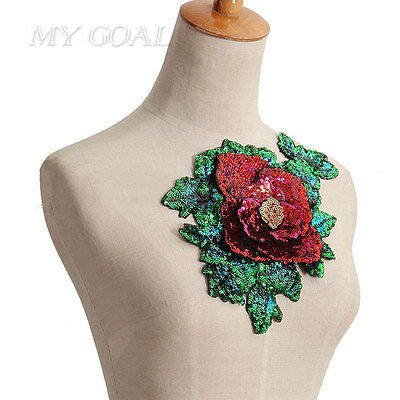 Rose Flower Badge Embroidered Dress Collar Iron on Sew Patch Applique DIY Bag