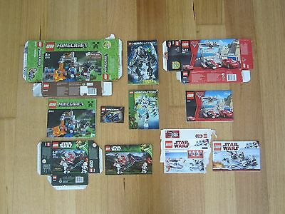 Lego Boxes and Assembly Instructions - Minecraft, Star Wars, Hero factory & Cars