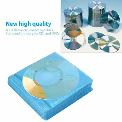 100Pcs CD DVD Double Sided Cover Storage Case PP Bag Sleeve Envelope Holder TY