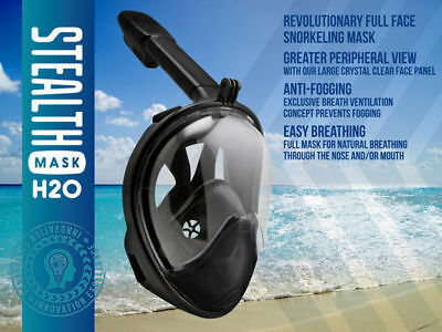 1 stealth snorkle mask h20 adult small to meduim black comfortable all in 1