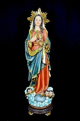 Virgin Mary (Maria) Statue/Figurine on Stand with Gold detailing (Polyresin)