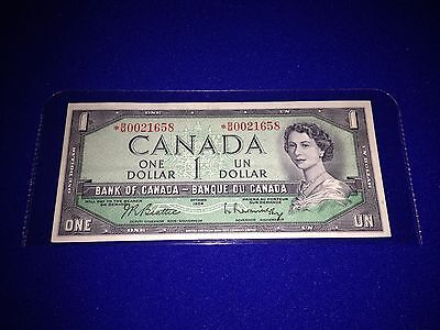 Bank Of Canada 1954 $1.00 Bill, *b/m Replacement Note - Lot H-5