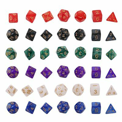 New 7pcs/set Creative Multi Sides Pearl Gemmed Acrylic Dice ~WS