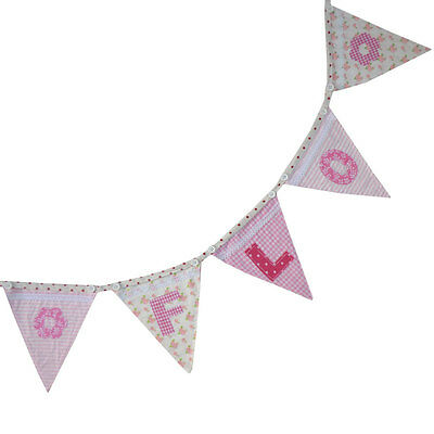 PERSONALISED BUNTING BABY named GIRL pink nursery christening gift letter