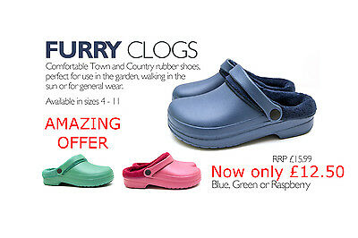 Town & Country Cloggies Fur Lined Limited Edition, Available in 3 colours