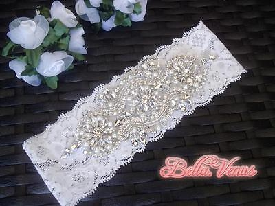 Vintage Lace Rhinestone Pearl Wedding Bridal Garter White