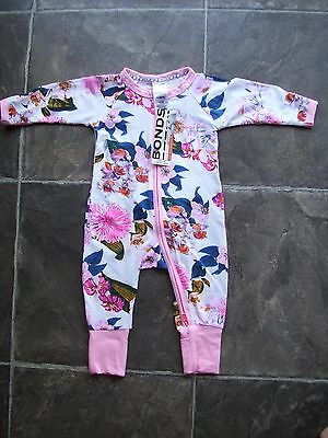 BNWT Baby Girl's Bonds Floral Zip Wondersuit/Onesie/Romper Size 000