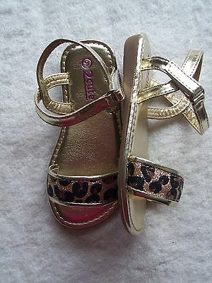 BNIB Toddler Girl's 2 Cute Gold, Black & Bronze Strappy Sandals/Shoes Size 9