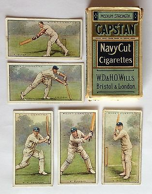Wills Capstan Navy Cut Vintage Cigarette Box With 5 Authentic Cricket Cards (N1)