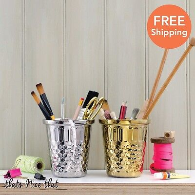 Gold Silver Thimble Desk Tidy Storage Home Office Paint Pot Pen Sewing Gift Fun