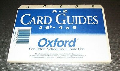 OXFORD 4 x 6 (A-Z) Manila INDEX CARD GUIDE SET by ESSELTE - 40409 Buy 3, Get 1
