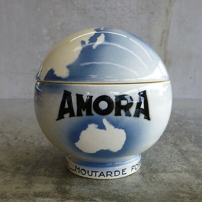 Art Deco Amora French Mustard Jar World Globe 1930s Adverstising Blue Typography