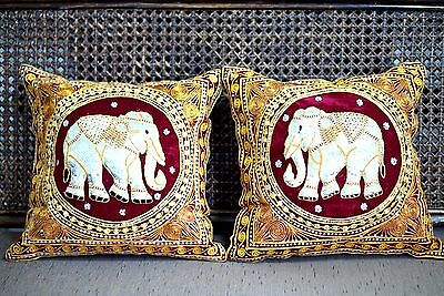 New 2X Pillow Case Thai Elephant Embroidered Red Gold Color Velvet Throw Pillow