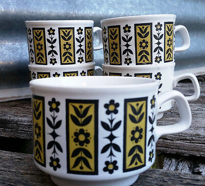 Vintage Retro Staffordshire Potteries Cup - Brown YellFloral x 5 Ceramic England
