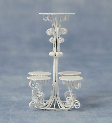 1:12th White Wire Plant Stand Doll house Miniatures Garden Accessorry