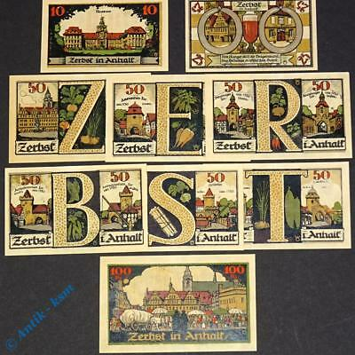 9 x Notgeld Zerbst , M/G 1469.2 , german emergency Money , kassenfrisch / unc