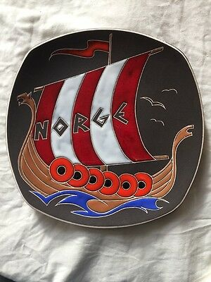 Norge Viking Ship Plate Wall Decor TRIFA Norway Studio Art Pottery Vileing