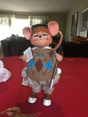 SUPER CUTE !!! 2004 ANNALEE 12 inch CHUBBY GOLFER MOUSE w/HANG TAG