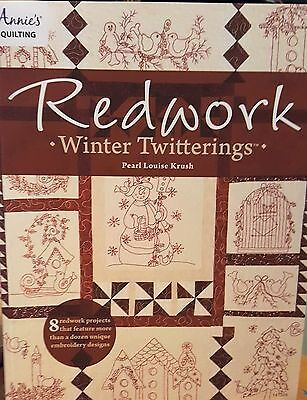 REDWORK WINTER TWITTERINGS - Annie's Embroidery & Quilting Booklet #141309 - NEW
