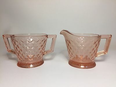 Pink Depression Glass Sugar & Creamer Diamond Point