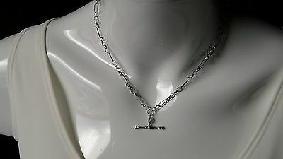 925 Solid Sterling Silver T Bar Fob Drop Pendant/necklace