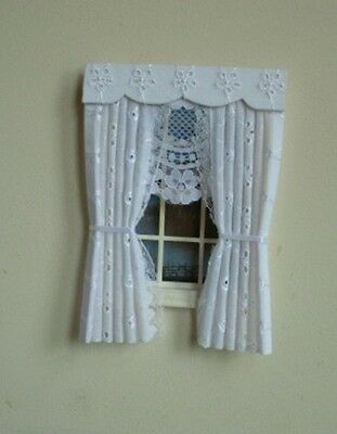 Dolls House Curtains White Broderie Anglaise