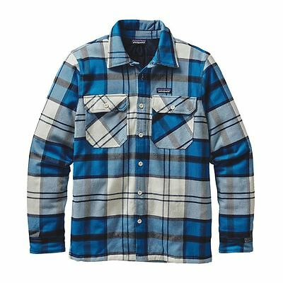 Patagonia Mens Insulated Fjord Flannel Jacket-Bandana Blue