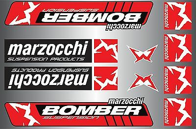 Marzocchi Bomber decals stickers sheet (cycling, mtb, bmx, road, bike) PRINTED
