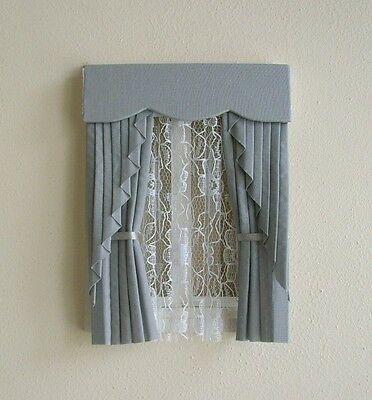 Dolls House Curtains Grey Swag Effect